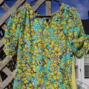 Cynthia Rowley Mint Yellow Floral Blouse